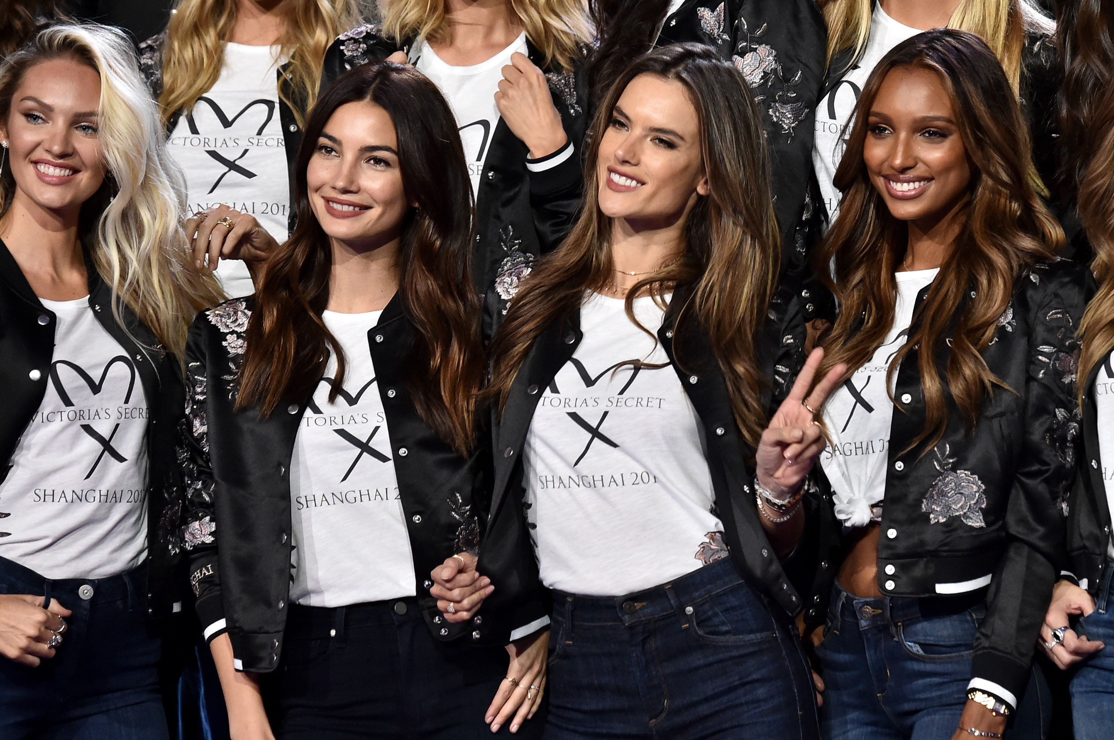 SHANGHAI, CHINA - NOVEMBER 18: Candice Swanpoel, Lily Aldridge, Alessandra Ambrosio and Jasmine Tookes pose during the All Model Appearance At Mercedes-Benz Arena on November 18, 2017 in Shanghai, China.  (Photo by Frazer Harrison/Getty Images for Victoria's Secret)